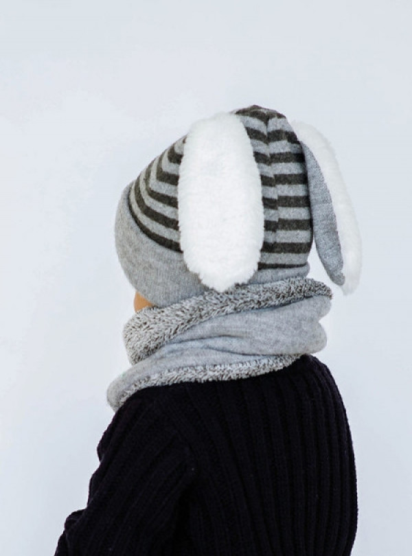 Зимний комплект с ушками шапка+хомут Dembohouse   899
