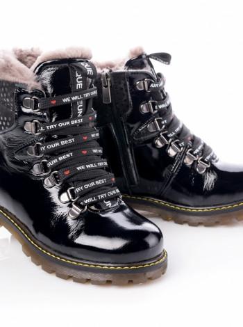 Ботинки лаковые зимние на девочку