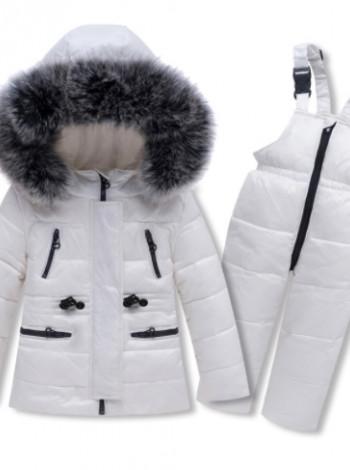 Пуховий зимовий комплект куртка і комбінезон