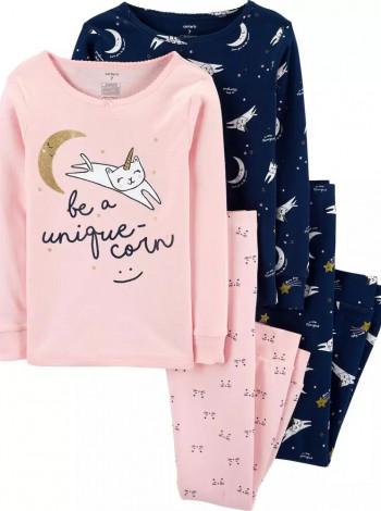Піжама котонова Unicorn Cat  синя дівчинка Carters