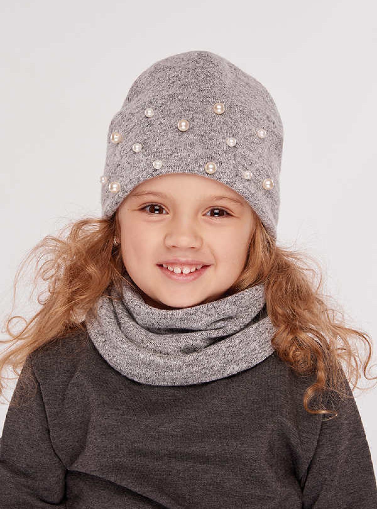 Осенняя шапка Сандал (набор) серый Dembohouse   761