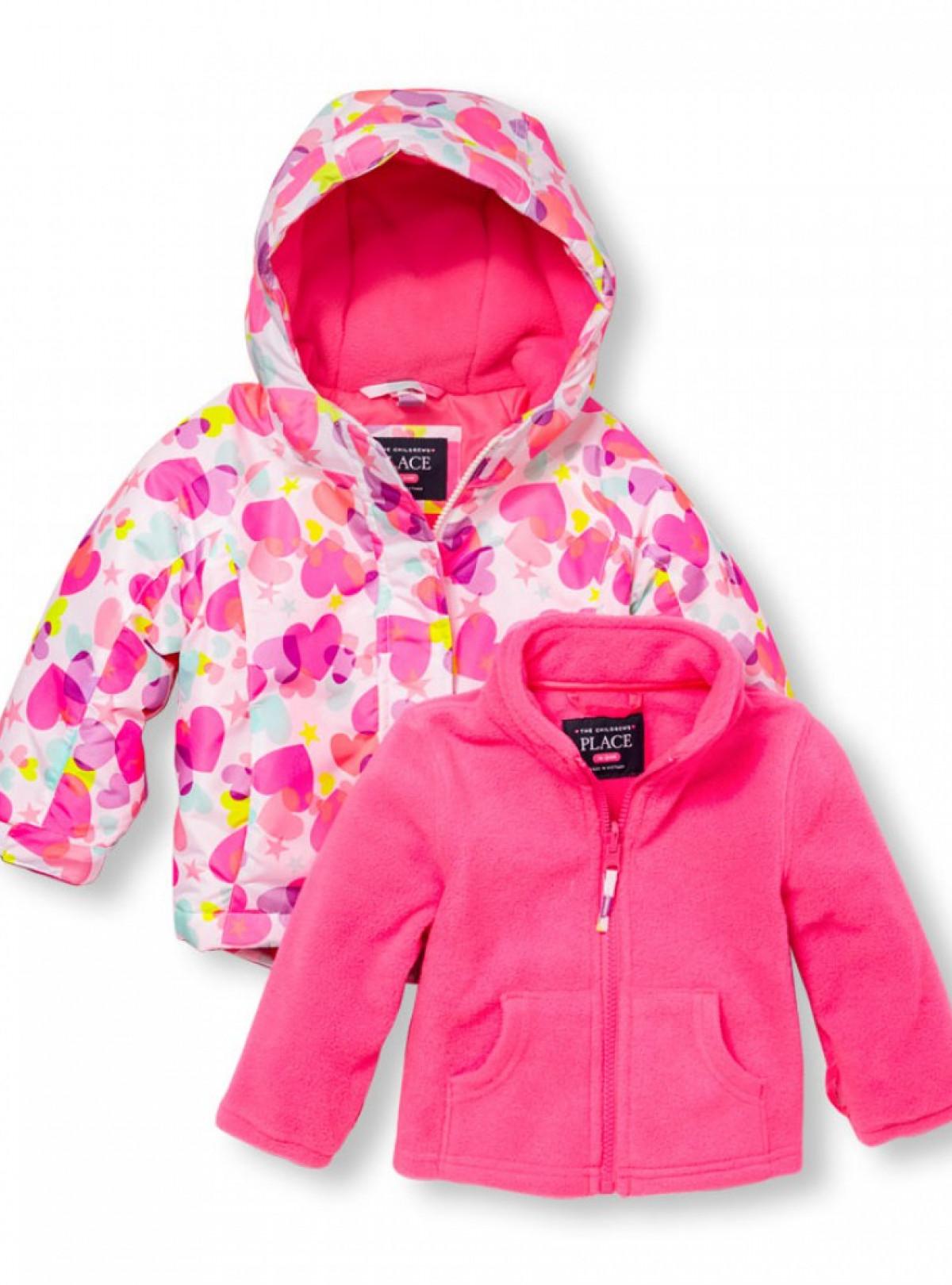 Куртка зимняя 3 в 1  The Children's Place с флиской сердечки   1176