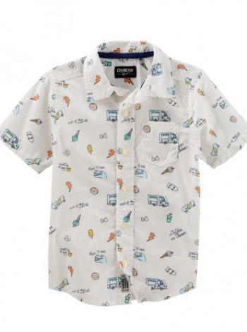 Рубашка белая запринтована