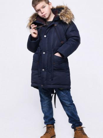 Зимняя куртка для мальчика X-Woyz 29501 синяя с мехом