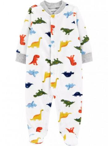 Человечек Carters Флисовый белый с динозаврами