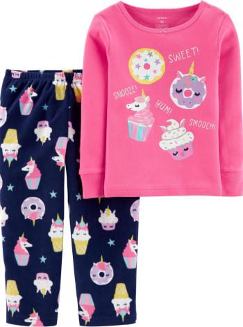 Пижама флис + хлопок Carters розовая