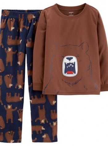 Пижама для мальчика флис + хлопок Carters коричневый
