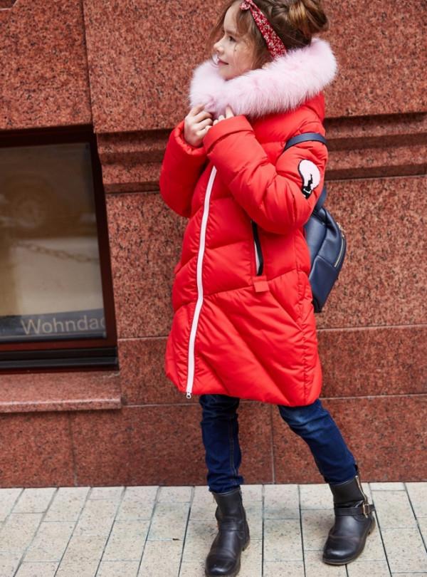 Модне пальто на дівчинку Сафіна червоне Nui Very 558