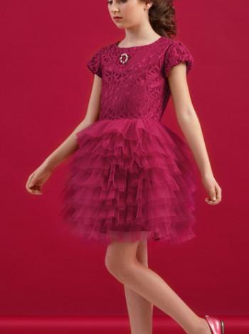 Нарядное платье пачка марсала