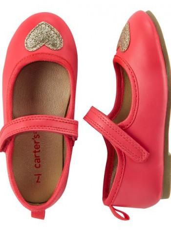 Кораловые туфли с золотым серцем Carters