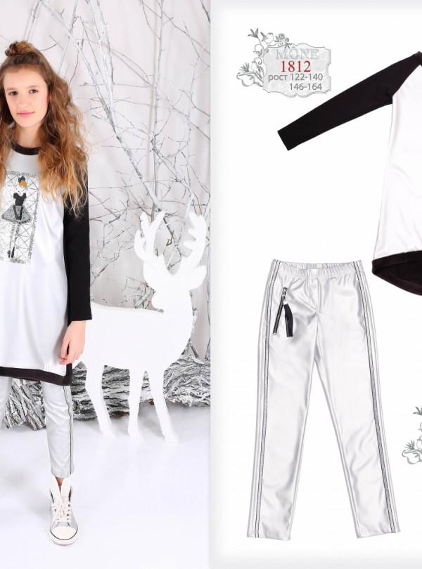 Модные дизайнерские стрейчевие брюки серебро   789