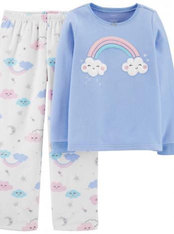 Пижама флис + хлопок Carters голубая